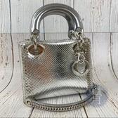 BRAND楓月 Christian Dior LADY DIOR MINI 新版 銀色 蛇皮 手提 肩背包 兩用包