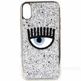 Chiara Ferragni 刺繡眼睛銀色亮片iPhone X手機殼(5.8吋)1920671-30