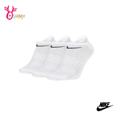 NIKE 襪子 成人男女款情侶 吸汗舒適健身運動 訓練襪 短襪運動襪 三雙入 SX472#白色◆OSOME奧森鞋業