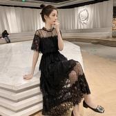 夏季新款網紗拼接收腰中長款蕾絲短袖洋裝女溫柔chic仙女裙 錢夫人