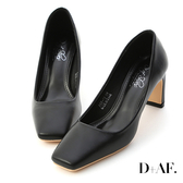 D+AF 低調美感.素面方頭扁跟高跟鞋*黑