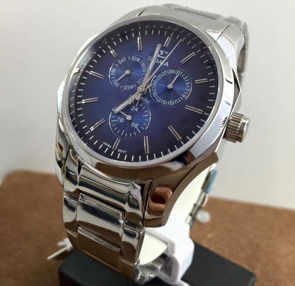 【名人鐘錶・實體店面】SIGMA 帥氣大錶面三眼鋼帶男錶x42mm藍・藍寶石水晶鏡面・1018M-3