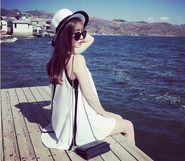 【現貨出清】泳衣罩衫●後背綁帶上衣式外穿海邊無袖泳衣罩衫-白(5/14)