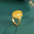 戒指 黃玉琥珀蜜蠟綠松石中國風鍍金戒指個性復古吉祥如意開口指環女