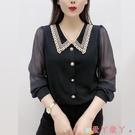 雪紡衫 娃娃領打底小衫女長袖2021春裝新款韓版時尚寬鬆遮肚子顯瘦雪紡衫 愛丫 新品