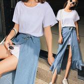 長版素T+開叉牛仔裙套裝/兩件套 2色【D927525】