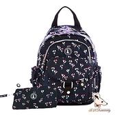 B.S.D.S冰山袋鼠 - 楓糖瑪芝 - 輕旅單肩後背兩用包+零錢包2件組 - 花卉黑【Z108-KF】