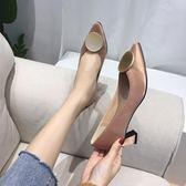 2019春季新款粗跟單鞋中跟尖頭韓版百搭氣質高跟鞋淺口網紅搭扣女