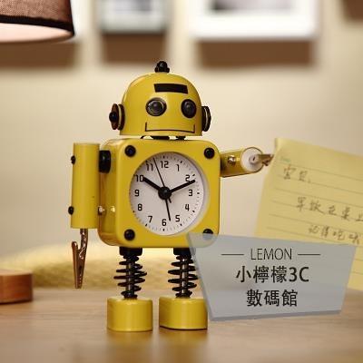 鬧鐘鬧鈴床頭可愛創意個性機器人小男孩時鐘表【小檸檬3C】