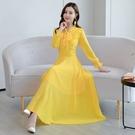 雪紡連身裙輕熟女M-3XL2889秋裝流行裙子純色雪紡連身裙中長款氣質長裙
