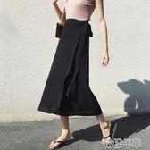 雪紡半身裙女夏中長款新款純色一片式繫帶裹裙海邊度假沙灘裙 花樣年華