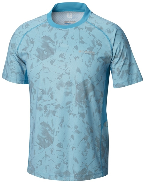 【Columbia】男鈦涼感快排抗曬短袖上衣-藍