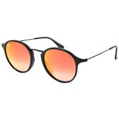原廠公司貨-【Ray-Ban雷朋】2447F-901/4W-49-亞洲版-復古圓框太陽眼鏡(黑框-水銀漸層橘鏡面)