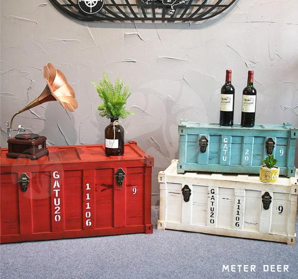 現+預購 中款 可客製 收納 復古大木箱 置物箱 工業風 實木製 仿貨櫃造型 儲物箱 整理箱 櫥窗擺飾