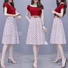 雪紡洋裝雪紡連身裙套裝女21新款夏季洋氣波點半身裙子兩件套女ins潮 快速出貨
