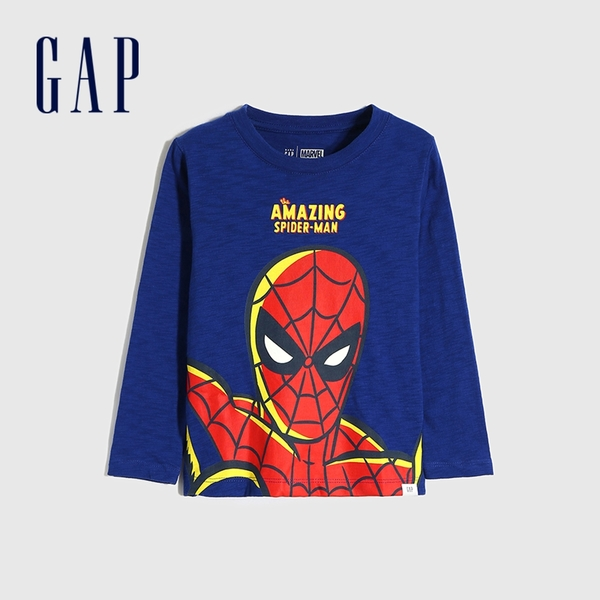 Gap男幼童 Gap x Marvel 漫威系列印花圓領長袖T恤 649639-藍色
