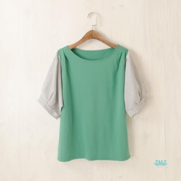viNvi Lady 公主袖條紋拼接純色棉柔短袖T恤 短袖上衣