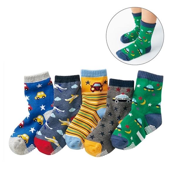 (5雙一組) 汽車星際防滑膠點中筒襪 中短襪 襪子 童襪 男童 中童 小童 兒童 橘魔法 現貨 童裝