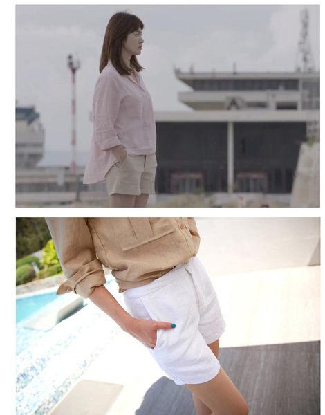 短褲 OL時尚簡約風亞麻寬鬆顯瘦直筒短褲 艾爾莎【TAE3468】