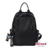 【iBrand】真皮雙層尼龍喵星人後背包-黑色 SY-88867-1-BK