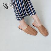 Queen Shop【05090177】簡約素色波浪造型草編半拖 兩色售 36-39*現+預*