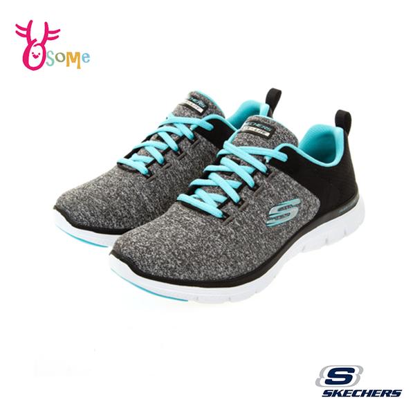 Skechers運動鞋 女鞋 防水鞋面 FLEX APPEAL 4.0 寬楦款 慢跑鞋 跑步鞋 記憶鞋墊 輕量避震 W8217#黑綠