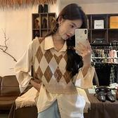 V領撞色毛衣馬甲女 韓版氣質顯瘦短款針織上衣外套【少女顏究院】