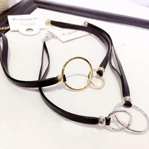 頸鍊 異材質 金屬感 圓環 短款 項鏈【TSDFDF55-2】 BOBI  03/30