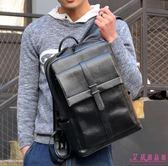 雙肩包 潮流 時尚 休閒 青年 男士 背包 韓版 大容量 黑色 PU皮書