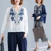 秋裝文藝復古刺繡棉麻長袖T恤 寬鬆顯瘦V領休閒百搭亞麻上衣女 超值價