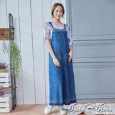 【Tiara Tiara】緹花牛仔連身吊帶褲(深藍/淺藍) 新品穿搭