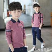 男童長袖T恤2018新款中大童秋季polo打底衫潮中大尺zzy5444『時尚玩家』