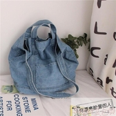 新品牛仔包港風chic帆布包日系韓版女學生側背包chic牛仔帆布袋購物袋斜背包 美包