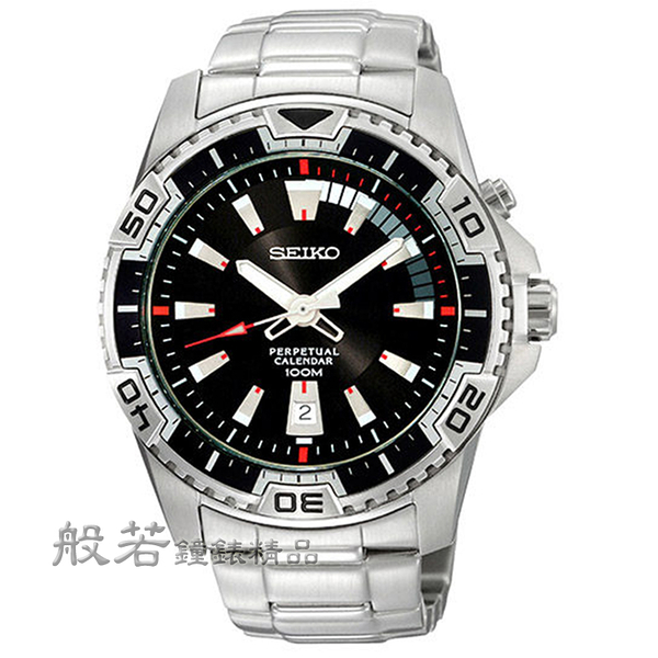 SEIKO 金屬主義時尚造型腕錶-銀x黑