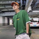 韓版字母印花假兩件拼色寬松圓領短袖T恤男夏潮流上衣 sxx138 【衣好月圓】