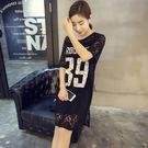 蕾絲洋裝-韓版時尚數字印花女連身裙2色73hd10【時尚巴黎】