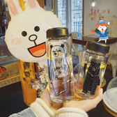水杯  韓國字母印花透明大熊小熊玻璃杯水瓶可愛學生男女情侶水杯隨手杯