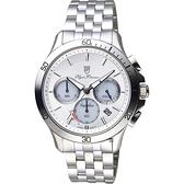 Olympia Star奧林比亞 太陽能計時紳士手錶-銀/42mm 89051-3GS