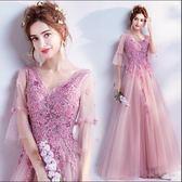 夢幻花朵薔薇粉色新娘婚紗敬酒服晚宴年會主持人禮服igo   傾城小鋪