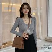 打底衫女裝緊身長袖T恤性感方領上衣服【時尚大衣櫥】