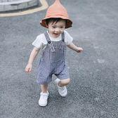 ins夏季新款嬰幼兒童裝男女寶寶韓國可愛格子中褲連身背帶短褲子