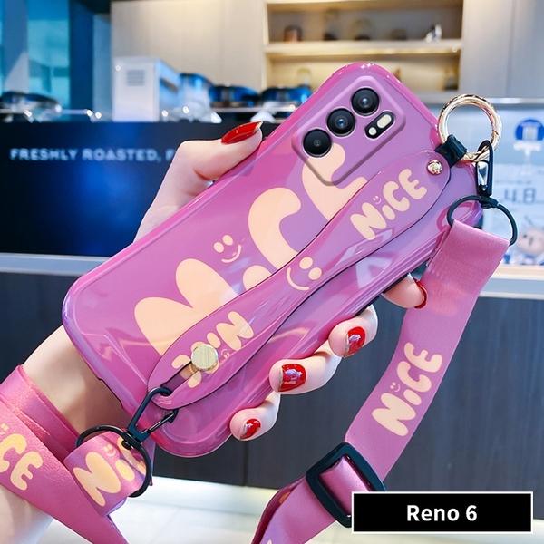 毆珀Reno6 Pro保護殼 腕帶創意oppo Reno 6手機殼 日韓簡約OPPO Reno6 Pro手機套 掛繩卡通毆珀保護套