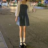 牛仔洋裝秋裝2021年新款女裝拼接裙子早秋收腰顯瘦A字牛仔裙長袖連身裙女 伊蒂斯