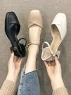 方頭粗跟單鞋女2020年新款春款鞋子仙女風百搭學生一字扣高跟鞋潮
