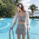 連身泳裝 泳衣女仙女范性感網紅款遮肚顯瘦分體三件套罩衫泡溫泉保守泳裝