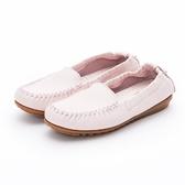 MICHELLE PARK 輕時尚舒適彈力牛皮休閒平底鞋-粉紅