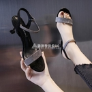 涼鞋女新款韓版高跟細跟女士涼鞋時尚百搭一字扣帶貓跟女鞋 快速出貨