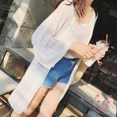 披肩夏裝正韓女裝蕾絲雪紡開衫中長版薄外套七分袖網紗上衣披肩防曬衣(百貨週年慶)
