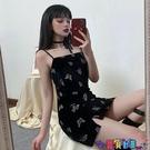 吊帶連身裙 連身裙2021新款夏季原宿暗黑系網紅復古蝴蝶印花修身吊帶裙子寶貝計畫 上新