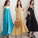 MIUSTAR 亮色系!大V領細肩傘狀雪紡長洋裝(共3色)【NJ1578】預購